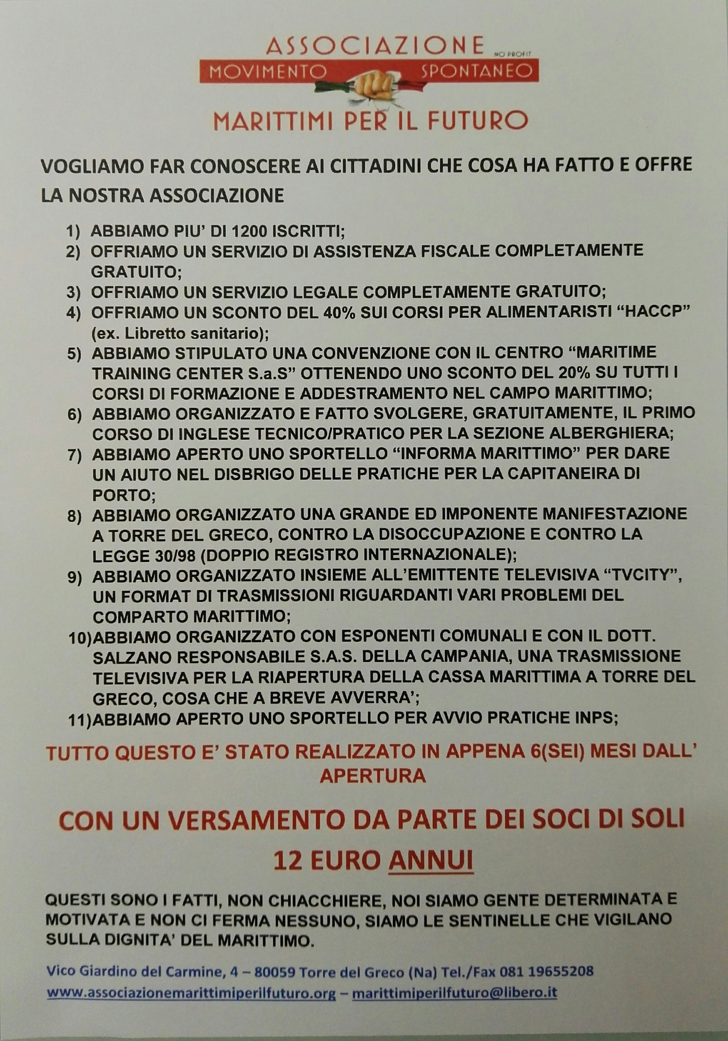 Associazione marittimi per il futuro, Una realtà sul territorio di Torre del Greco
