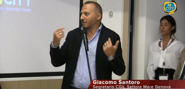 Intervento di G. Santoro (Segr. CGIL settore Mare Genova) durante il convegno Italia marittimi quale futuro